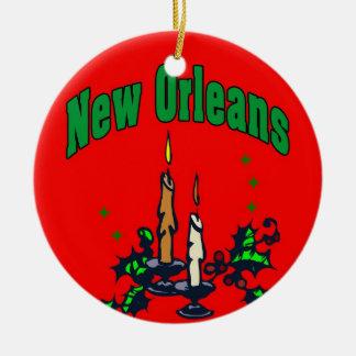 Árbol de navidad de New Orleans Adorno Redondo De Cerámica