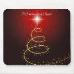 Árbol de navidad de oro abstracto en brillar inten mousepad