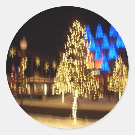 Árbol de navidad de oro pegatina redonda
