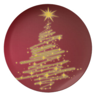 árbol de navidad de oro plato