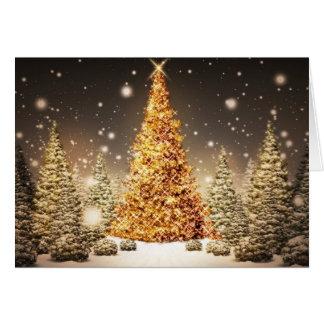 Árbol de navidad de oro tarjeta de felicitación