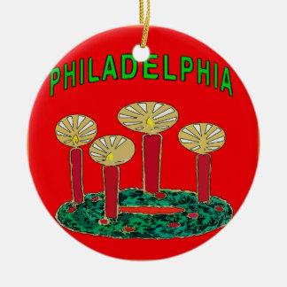 Árbol de navidad de Philadelphia Adorno Navideño Redondo De Cerámica