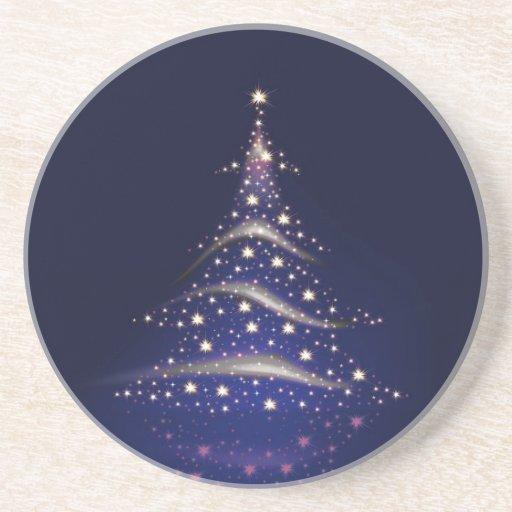 Árbol de navidad de PixDezines/azul de medianoche Posavasos Cerveza