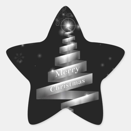 Árbol de navidad de plata abstracto de la cinta pegatina en forma de estrella