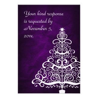 Árbol de navidad de plata púrpura que casa RSVP Comunicado Personal