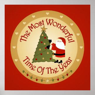 Árbol de navidad de Santa Posters