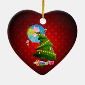Árbol de navidad adorno de cerámica en forma de corazón