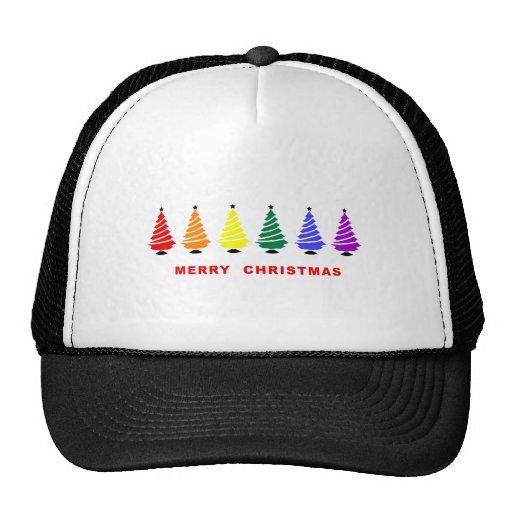 Árbol de navidad del arco iris gorras