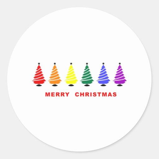 Árbol de navidad del arco iris pegatina redonda