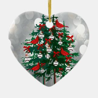 Árbol de navidad del béisbol con los pájaros rojos ornamento de navidad