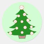Árbol de navidad del béisbol pegatina redonda
