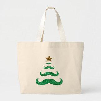 árbol de navidad del bigote bolsa tela grande