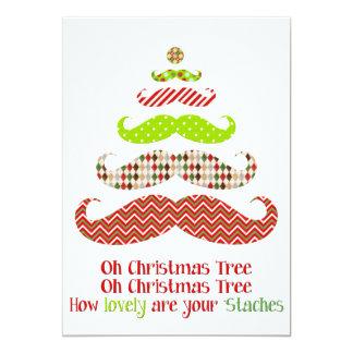 Árbol de navidad del bigote - tarjeta del día de invitación 12,7 x 17,8 cm
