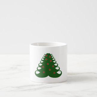 Árbol de navidad del bigote taza espresso