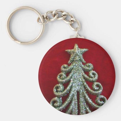 Árbol de navidad del brillo llaveros personalizados