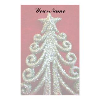 Árbol de navidad del brillo papelería personalizada