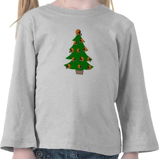 Árbol de navidad del casco de fútbol americano camiseta