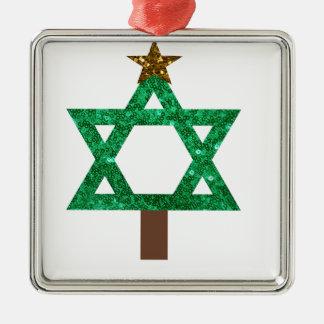 árbol de navidad del christmukkah adorno navideño cuadrado de metal