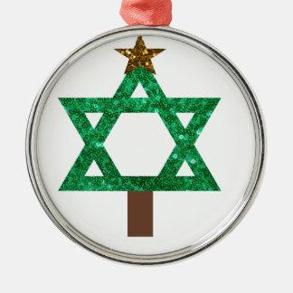 árbol de navidad del christmukkah adorno navideño redondo de metal