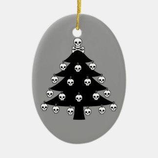 Árbol de navidad del cráneo adorno navideño ovalado de cerámica