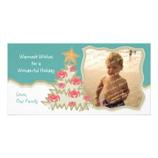 Árbol de navidad del día de fiesta de la playa tarjetas fotograficas personalizadas
