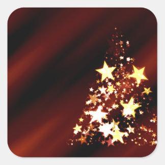 Árbol de navidad del día de fiesta pegatina cuadrada