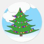 Árbol de navidad del dibujo animado pegatinas redondas