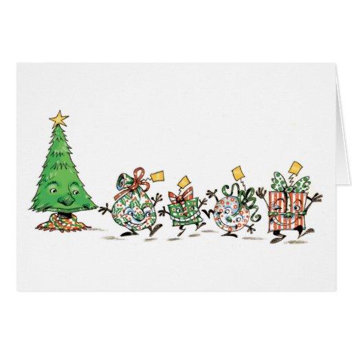 Árbol de navidad del dibujo animado y tarjeta de f