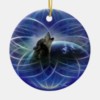 Árbol de navidad del dreamcatcher del lobo adorno navideño redondo de cerámica