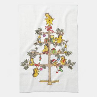 Árbol de navidad del erizo toallas de cocina