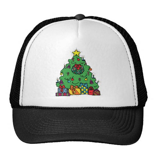 Árbol de navidad del estilo del dibujo animado con gorros