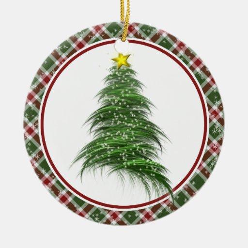 Árbol de navidad del fractal adorno redondo de cerámica