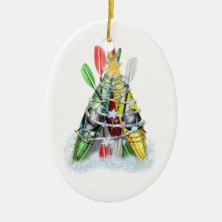 Árbol de navidad del kajak - ornamento adorno ovalado de cerámica