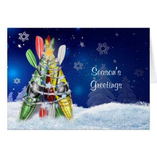 Árbol de navidad del kajak - tarjeta de