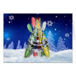 Árbol de navidad del kajak - tarjeta de felicitaci