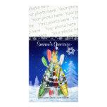 Árbol de navidad del kajak - tarjeta de la foto tarjeta personal