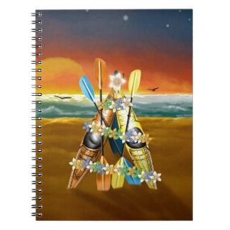 Árbol de navidad del kajak - tropical spiral notebook