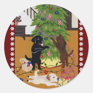Árbol de navidad del labrador retriever etiquetas
