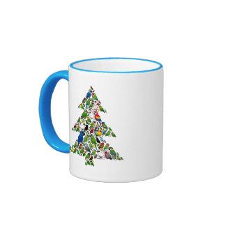 Árbol de navidad del loro taza