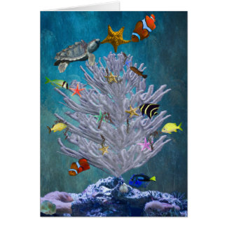 Árbol de navidad del mar tarjeta de felicitación