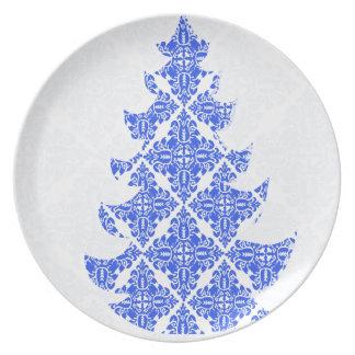 Árbol de navidad del modelo del damasco del azul Y Plato De Comida