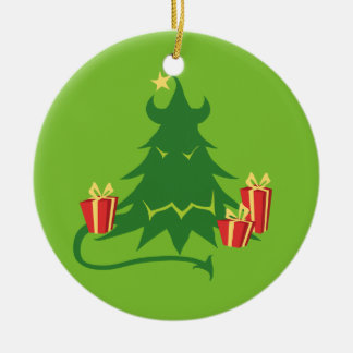 Árbol de navidad del monstruo adorno navideño redondo de cerámica