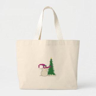 Árbol de Navidad del muñeco de nieve Bolsa Tela Grande