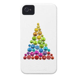 Árbol de navidad del ornamento del arco iris iPhone 4 cárcasas