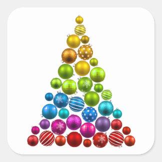 Árbol de navidad del ornamento del arco iris pegatina cuadrada