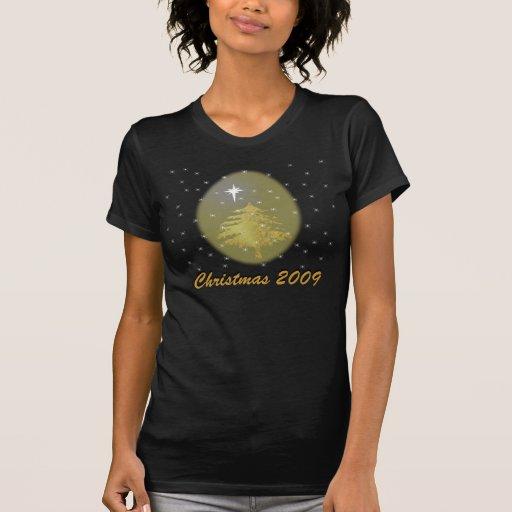 Árbol de navidad del oro con las estrellas camiseta