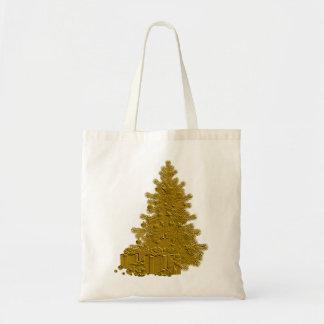 Árbol de navidad del oro con los regalos bolsa