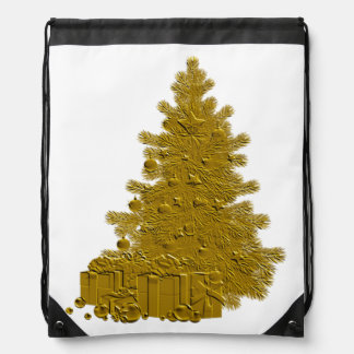 Árbol de navidad del oro con los regalos mochilas