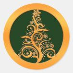 Árbol de navidad del oro pegatina redonda