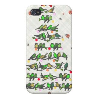Árbol de navidad del pájaro iPhone 4/4S carcasa